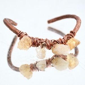 Citrine Natural Solid Copper Cuff Bracelet Healing